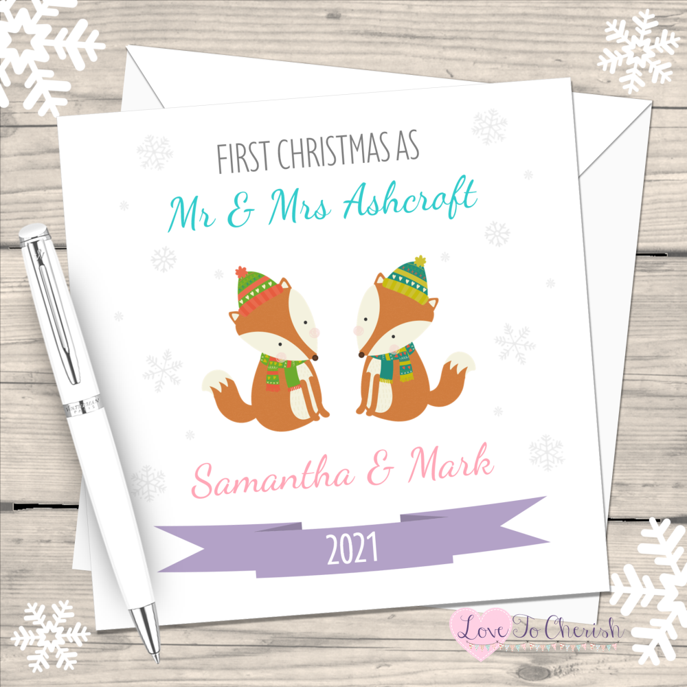 Winter Fox First Christmas as Mr & Mrs 2021 Personalised Christmas Card (Mr