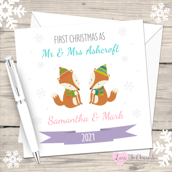 Winter Fox First Christmas as Mr & Mrs 2021 Personalised Christmas Card (Mr & Mr or Mrs & Mrs)