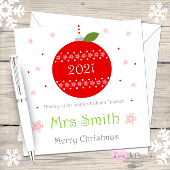 Teacher Red Bauble/Apple 2021 Personalised Christmas Card