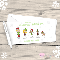 </001>Stick Family Personalised Christmas Cards - Pack of 10