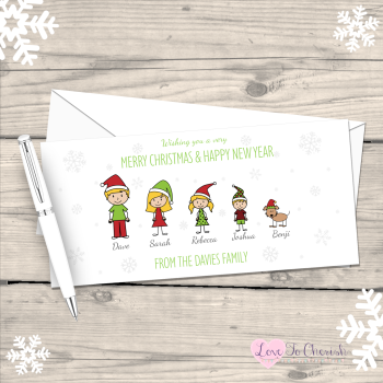 Stick Family Personalised Christmas Cards - Pack of 10
