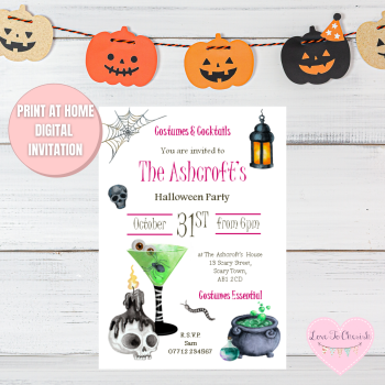 Cocktails & Costumes Halloween Party Invitations
