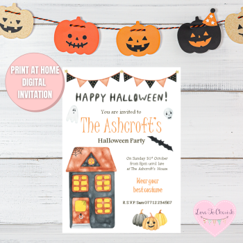 Haunted House & Bunting Halloween Party Invitations