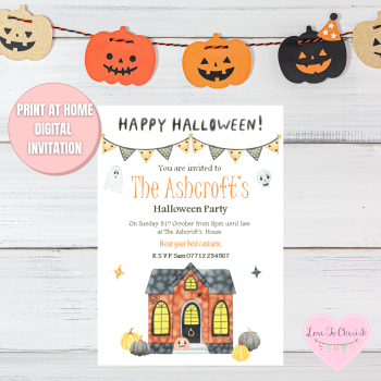 Haunted House & Pumpkins Halloween Party Invitations