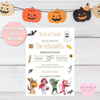 Kids Trick or Treat Halloween Party Invitations