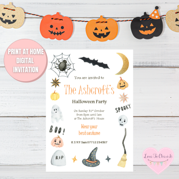Witches Hat & Broom Halloween Party Invitations