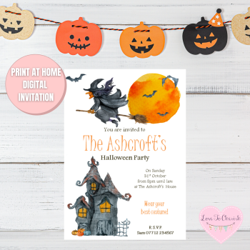 Haunted House & Flying Witch Halloween Party Invitations