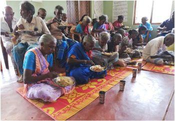 Elderly sharing food - Oct 2020