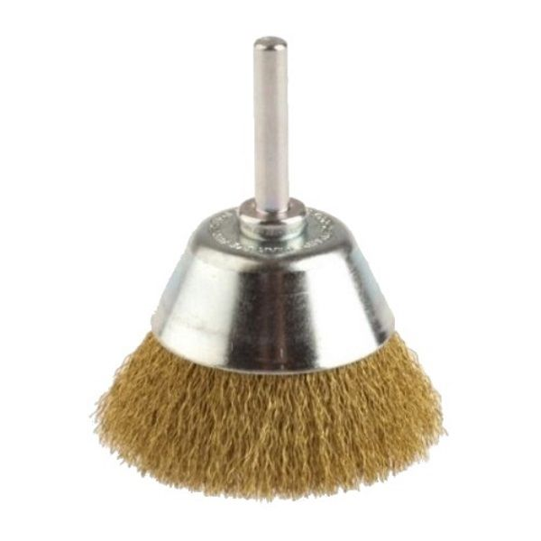 <!-- 025 -->Brass Wire Cup Brush 50mm with 6mm Arbor