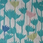 Hokkoh Japanese flower outlines LINEN mix in teals