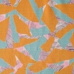 Hokkoh Abstract landscape in yellow and aqua BARKCLOTH