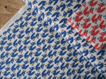 Hokkoh Japanese Sly foxes in blue on linen mix