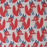Hokkoh Japanese Sly foxes in red on linen mix