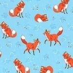 Robert Kaufman Forest Fellows shy fox on blue