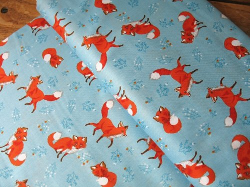 Robert Kaufman Forest Fellows shy fox on blue