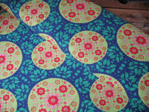 Dutch baby corduroy Mandela flower in lime on blue