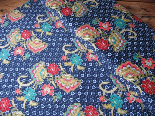 Dutch baby corduroy vintage paisley in blue