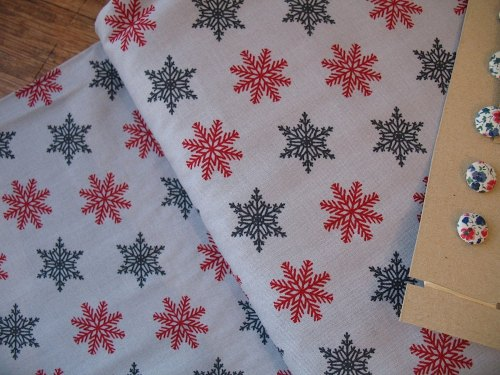 Westfalenstoffe Bergen Christmas snowflakes on grey
