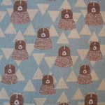 kokka bears in triangular mountains in blue