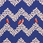 Echino Japan landscape birds on blue - linen mix