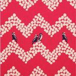 Echino Japan landscape birds on pink  - linen mix