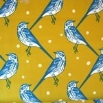 Echino Japan Decoro cotton sateen blue birds on mustard