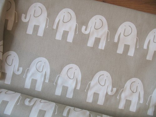 Premier Prints elephants on natural  - light upholstery