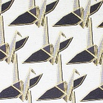 Ellen Luckett Baker Monochrome paper cranes in natural and gold