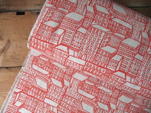 Hokkah Japanese London flats on red barkcloth