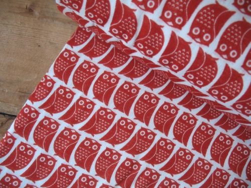 Kokka double Gauze owls in red