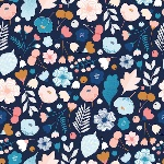 BOLT END - Cathy Nordstrom millefleur happy bouquet on blue