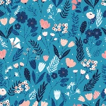 Cathy Nordstrom millefleur new sown wildflowers on blue