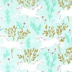 Sarah Jane Designs MAGIC Unicorn forest in blue with Metallic