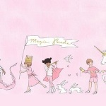 Sarah Jane Designs MAGIC magical  parade pink - double border print