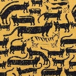 Japanese Kilkenny cats in black and yellow on heavier cotton
