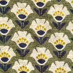 Cloud 9 ORGANIC Holding pattern BARKCLOTH garden variety in olive