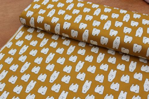 wandering bears on yellow  heavier cotton