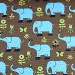 Hippy elephants on a retro chocolate linen mix