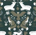 Dear Stella Folkwood - Animal damask - emerald