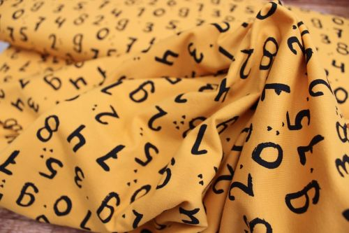 Dutch JERSEY scattered numbers on mustard