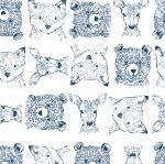 Dear Stella Blue moon woodland critters on white