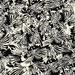 Carolyn Friedlander Gleaned- Lizard border in black