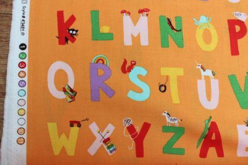 Heather Ross Kinder alphabet on orange