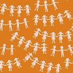 Heather Ross Kinder paper dolls orange