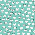 Dear Stella  Catitude cat heads in turquoise