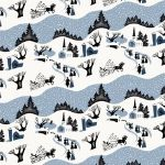 Freespirit fabrics Mid - Century Christmas, winter village in blue