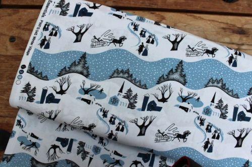 Freespirit fabrics Mid - Century Christmas, winter village in blue