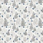 Freespirit fabrics Mid - Century Christmas, snowbirds on silver