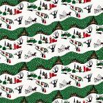 Freespirit fabrics Mid - Century Christmas, winter village in traditional