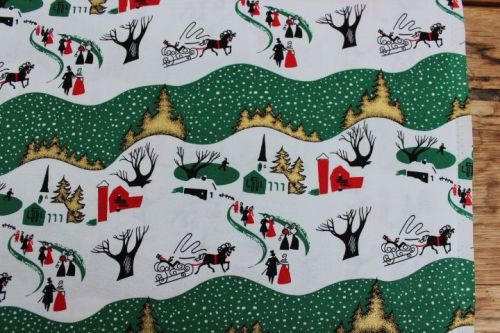 Freespirit fabrics Mid - Century Christmas, winter village in traditional